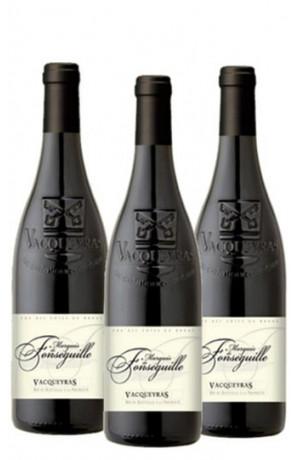 Lot 3 demi bouteilles Vacqueyras Marquis de Fonséguille