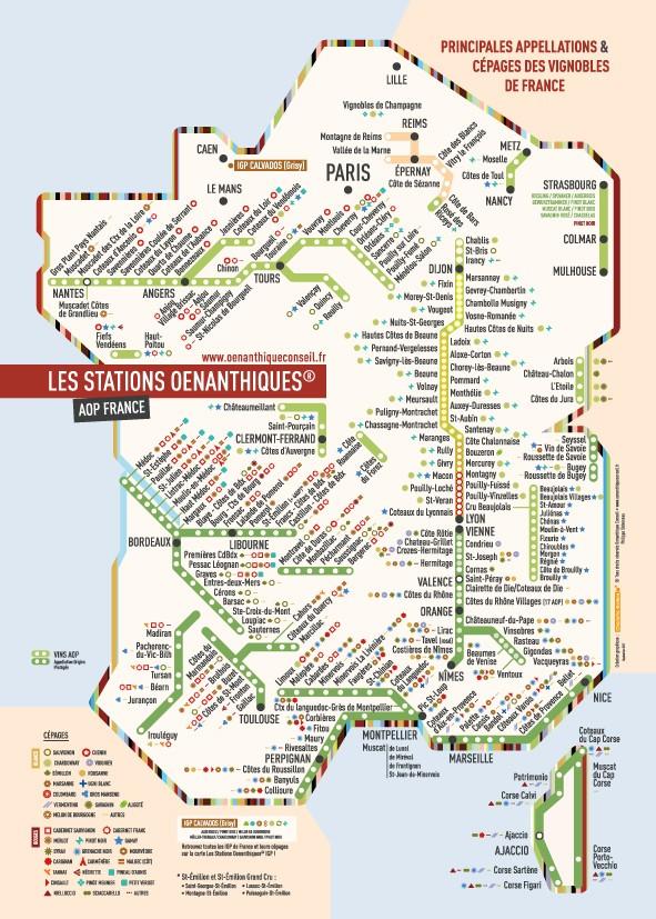 Carte Des Vins Vignobles De France Aop Stations De Metro Poster Format A1 60 X 80 Cm