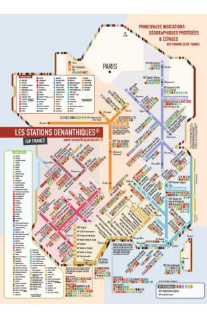 """Carte de France Pliée I.G.P Format A3 (30 x 40 CM) Genre Station """"Métro"""""""